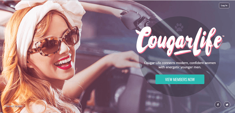 picture of a pretty mature woman in the frontseat of a car, smiling into the camera. it is also the landing page of cougar life . com