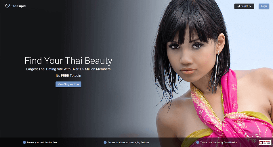 beautiful thai girl with shorter hair looking sensually into the camera. beyond that the landing page of thai cupid is visible