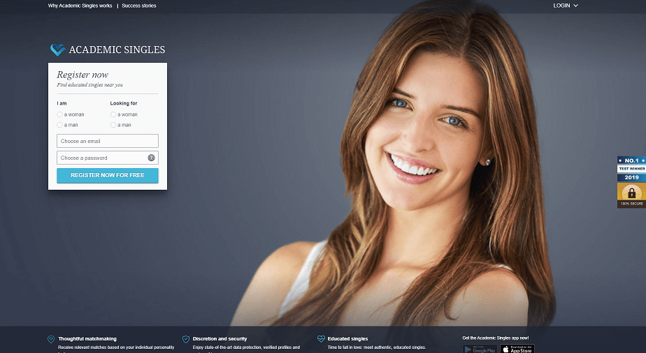 academic singles landing page with smiling educated single.
