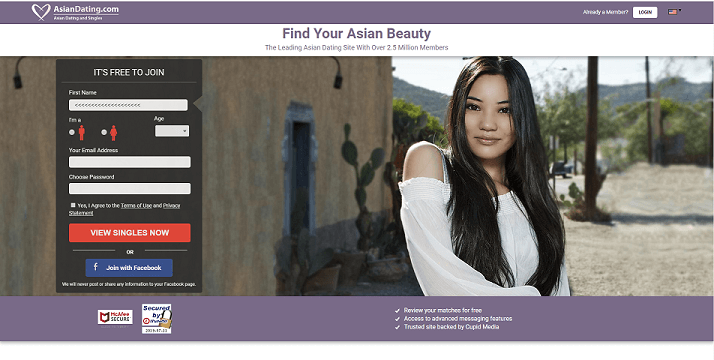 landing screen of asian dating.com. beautiful asian single with village background