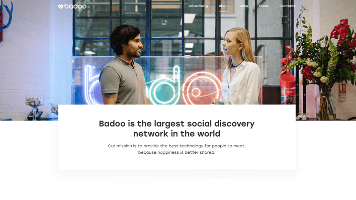 badoo landing page screen, with male and female single chatting to each other.