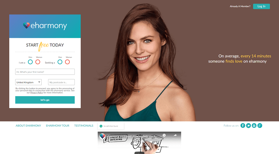 eharmony landing page with smiling woman and login screen.
