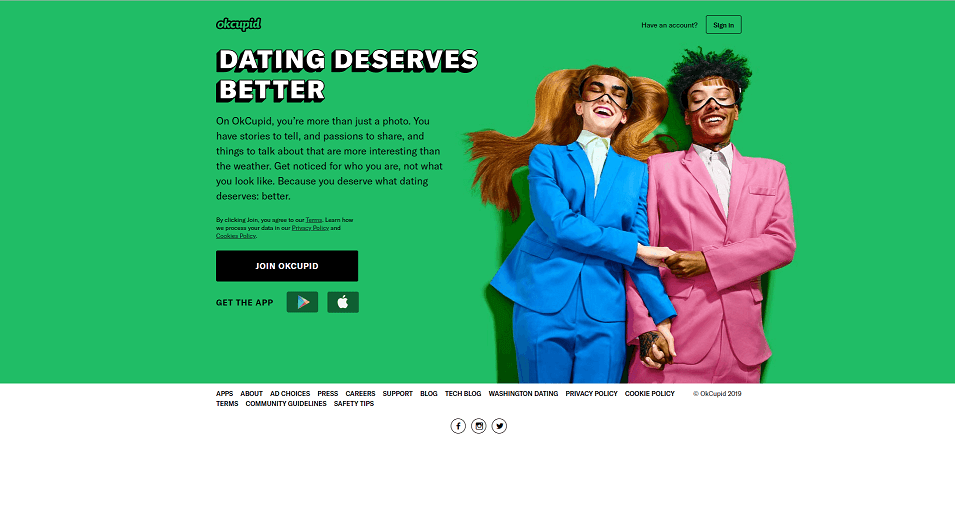 OKCupid dating app iomepage. One of the biggest dating apps in AU