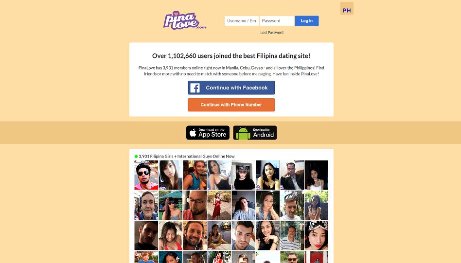 pina love login screen. beige color background. and a collage of single members of the dating site.