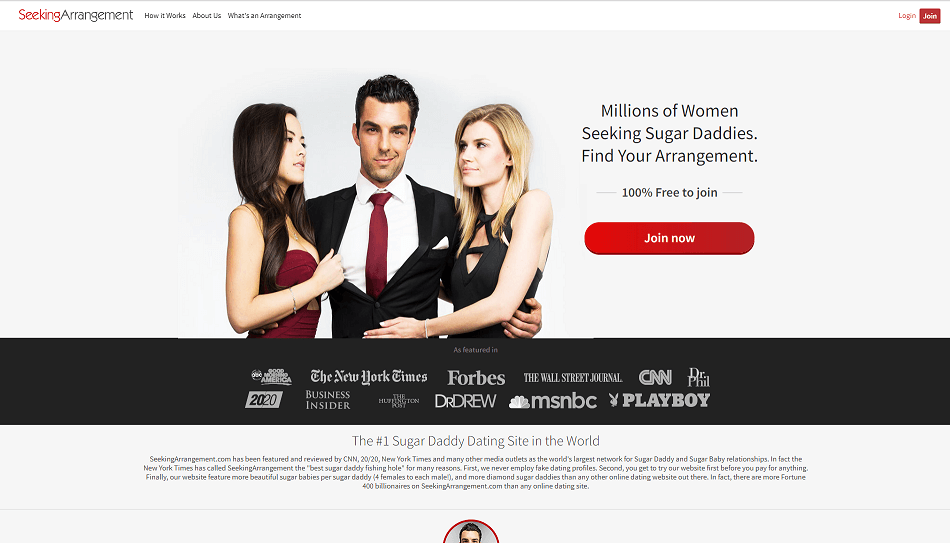 seeking arrangement landing page. with one sugardaddy with two sugar babes in each arm.