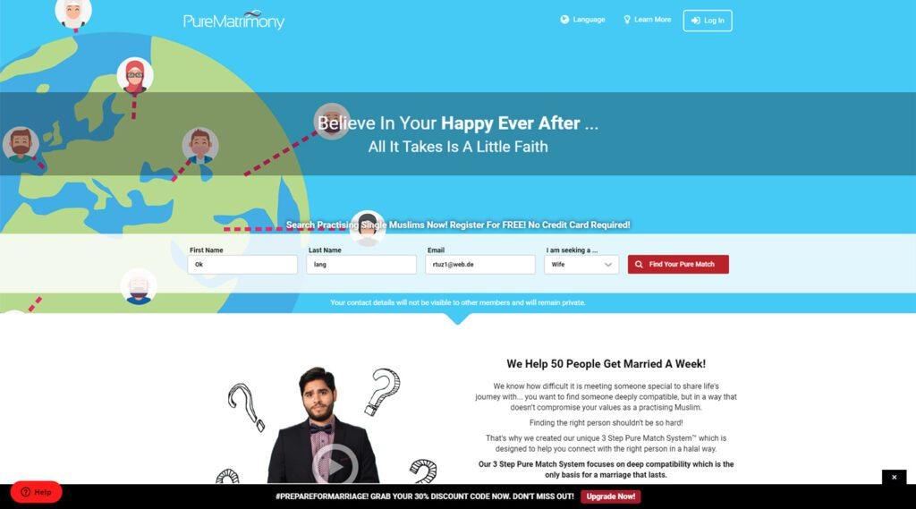 picture of pure matrimony landing page