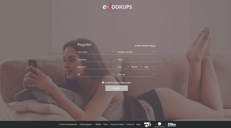 e-hookups login screen with attractive single in the background playing with cell-phone