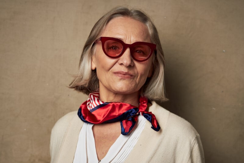 attractive granny lady with sunglasses