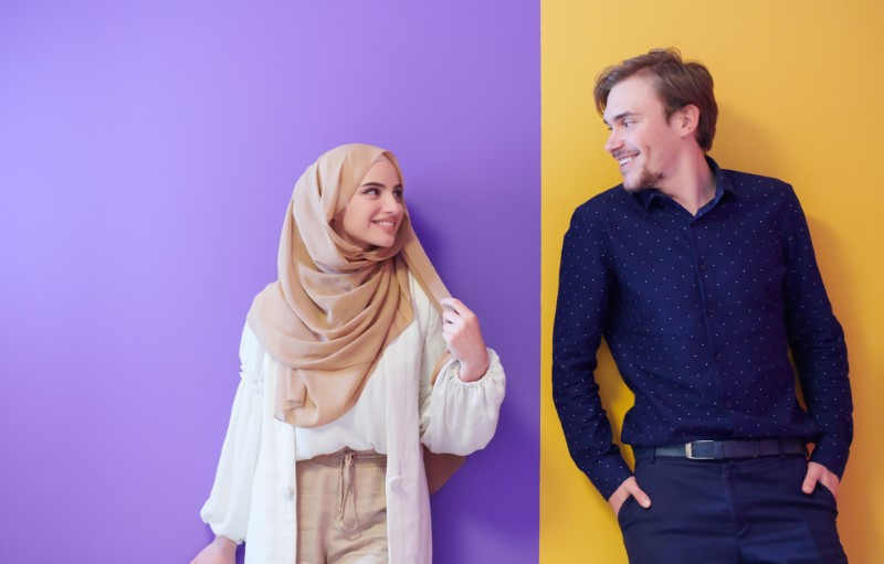 happy modern muslim couple