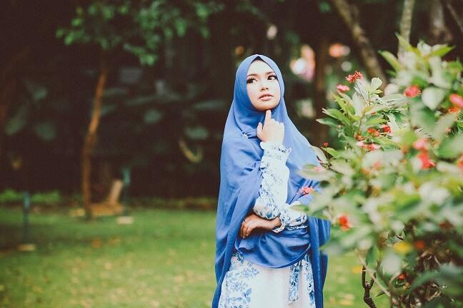 muslima taking a walk in the park