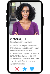 Dating profile example of Victoria on a smartphone