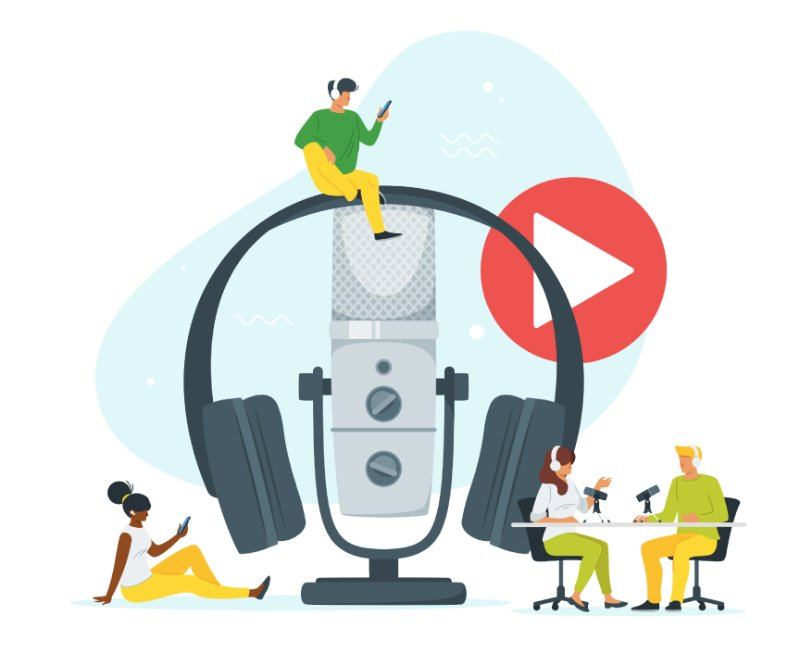 vector art of people listening to and recording podcasts with a big mic and headphones in the center