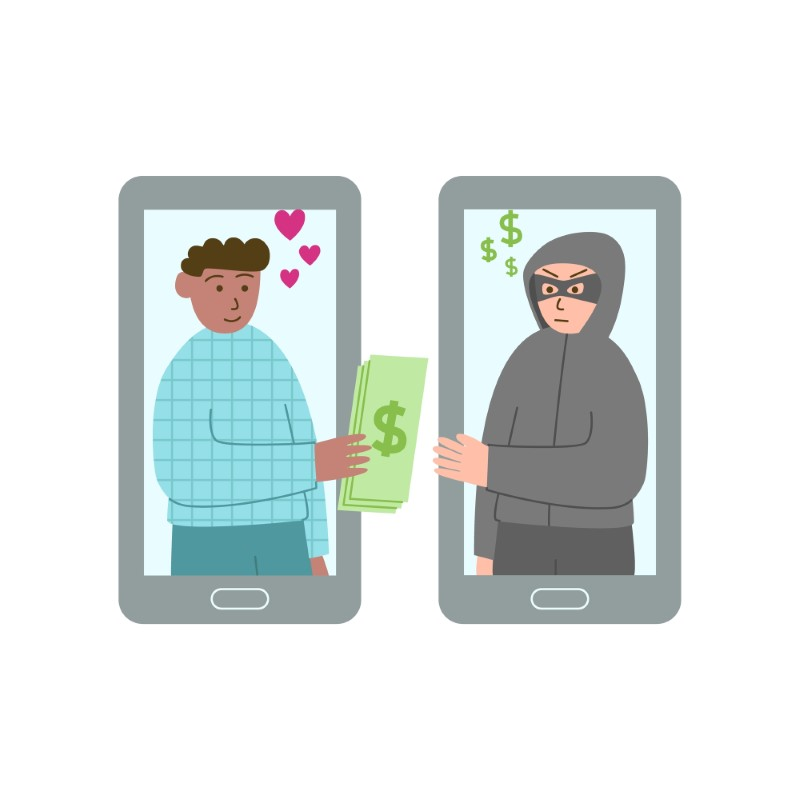 illustration of man in love giving his money to a scammer