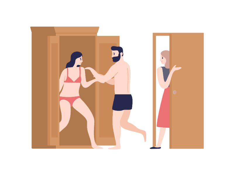 vector art of man hiding woman in underwear in closet while another woman is entering the room
