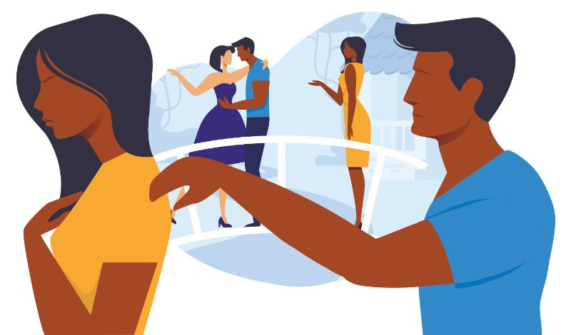 vector art of man trying to talk to woman after she caught him having an affair