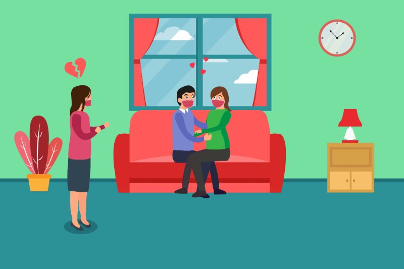 vector art of a woman catching her husband having an affair while they're all wearing face masks